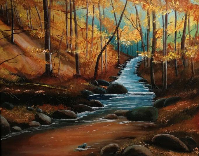 Herbstwald 50 x 70 Acryl - verkauft