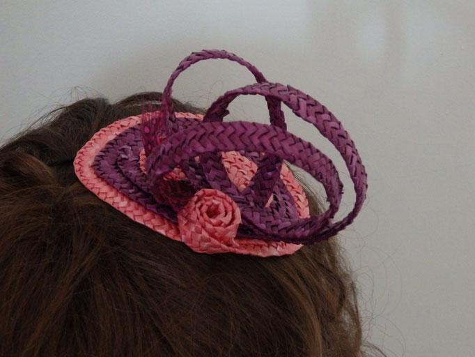 Bibi paille rose et violet AT34
