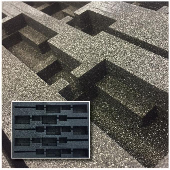 Koffereinlage für Musterversand (Elektromotoren) . Material: PE Schaum, 3-Schicht-Aufbau, 10,12 und 15mm