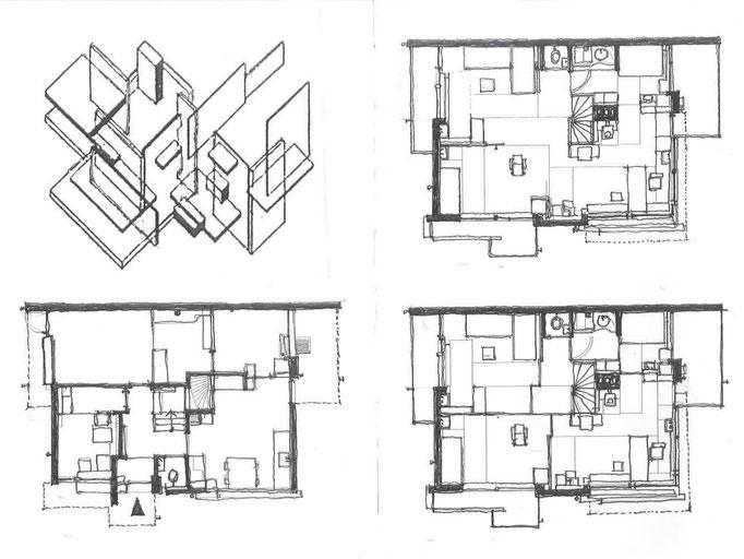 (左上)ドースブルフのコンポジション (右上)2階平面図(可動間仕切開放時) (左下)1階平面図 (右下)2階平面図(可動間仕切り閉鎖時)