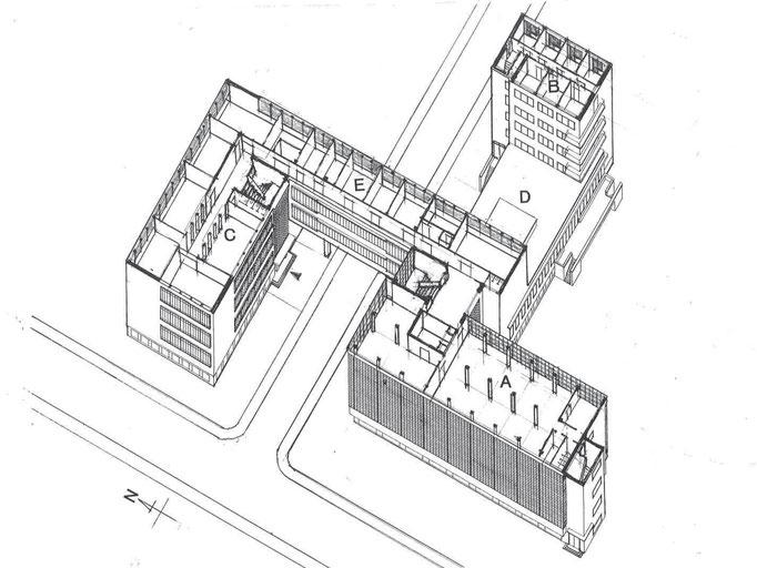 A工房棟 B寄宿舎棟 C職業学校棟 D講堂、食堂 E事務管理棟