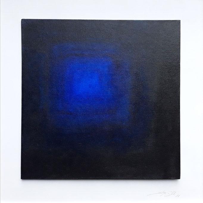 """""""blaues Quadrat"""" Acryl auf Malpappe, gerahmt, 50 x 50 cm"""