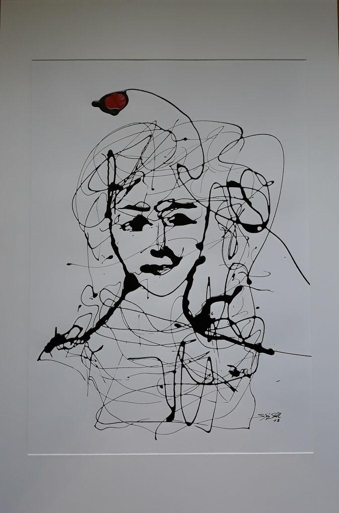 """""""Gedankenreise IV"""", Lack auf Papier, 90 x 70 cm, verkauft"""