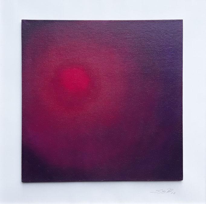 """Roter Kreis"", Acryl auf Malpappe, gerahmt, 50 x 50 cm"