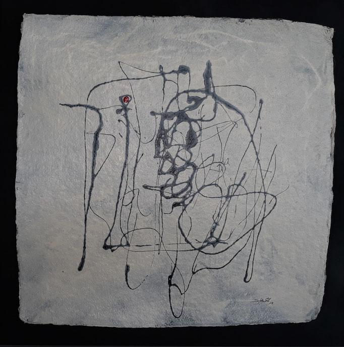 """""""Zartbeseitet II"""", Lack auf handg. Papier, Träger MDF, 60 x 60 cm"""