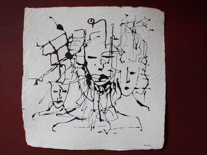 """Gedankenreise I"", Lack auf handg. Papier, 60 x 80 cm, gerahmt"