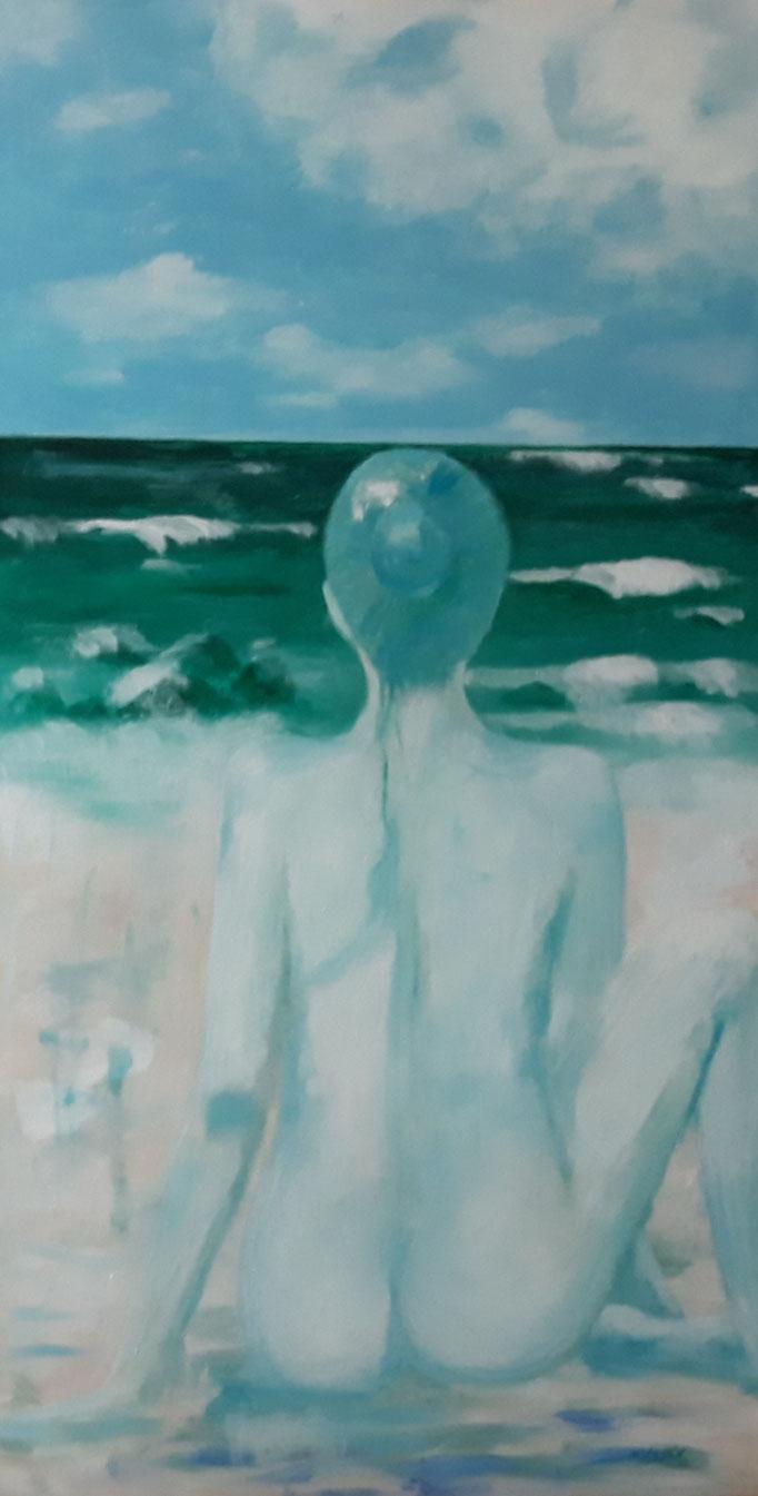 """""""Ein Tag am Meer"""", Acryl auf Leinwand, 155 x 80 cm, verkauft"""