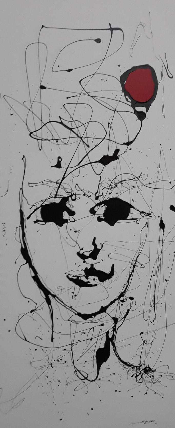 """""""Gedankenreise III"""", Lack auf Leinwand, 200 x 85 cm, verkauft"""