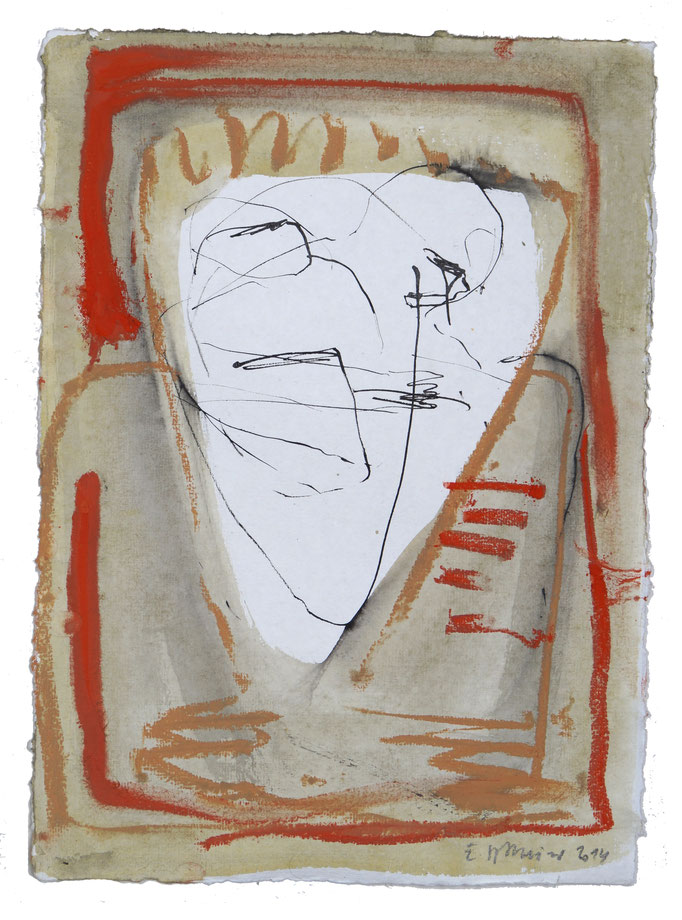 "2014TH023, ""Ausweg"" Mischtechnik auf Bütten, 42 x 30 cm, 2014"
