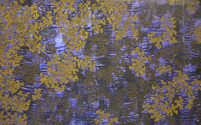 Struktur Blau 4, 2018, 71 x 110 cm