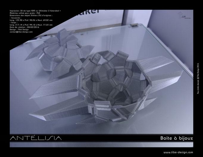 Boîte à bijoux design Antélisia print 3D 2