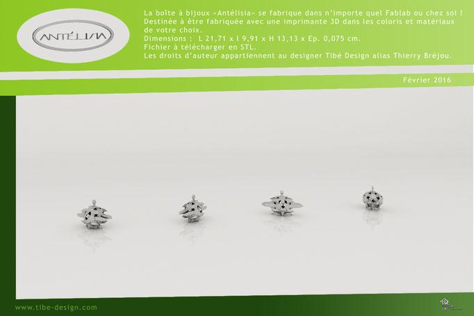 Boîte à bijoux design Antélisia print 3D studio 1