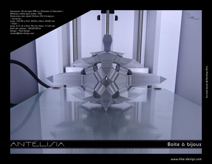 Boîte à bijoux design Antélisia print 3D 1