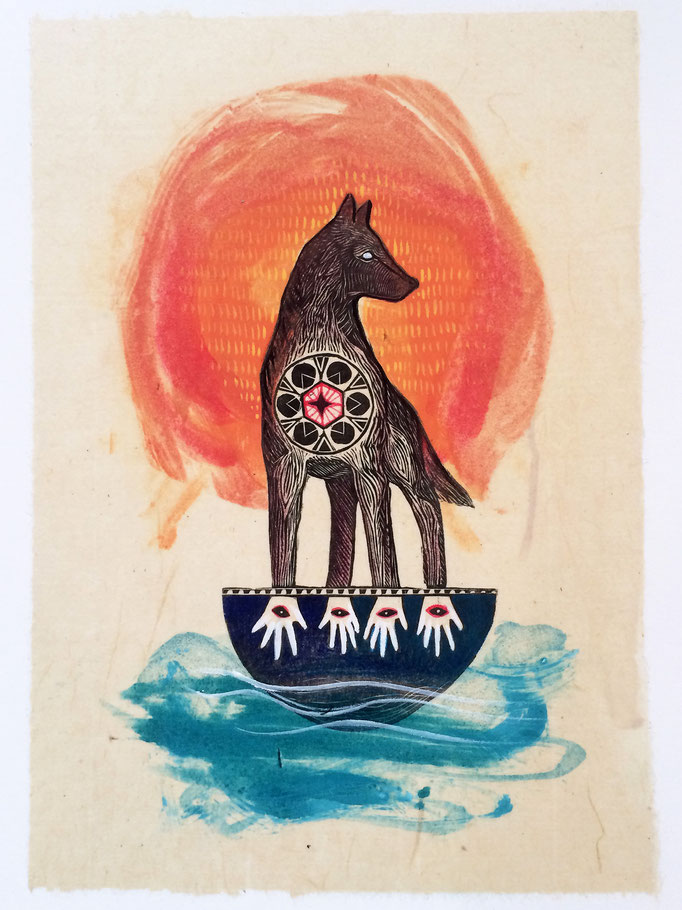 """Sacred Water, approx 10""""h x 8""""w, relief engraving, monotype, acrylic, $175"""