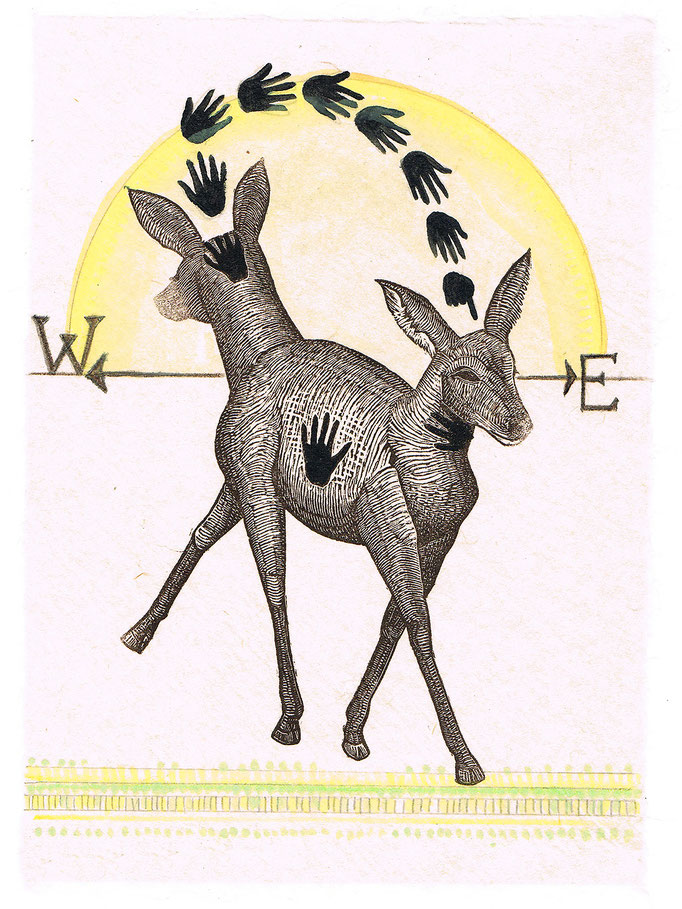 """Deer of East West, approx 10""""h x 8""""w, relief engraving, mixed media, collage, $175"""