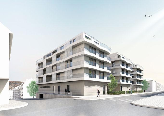 Studie für drei Mehrfamilienhäuser