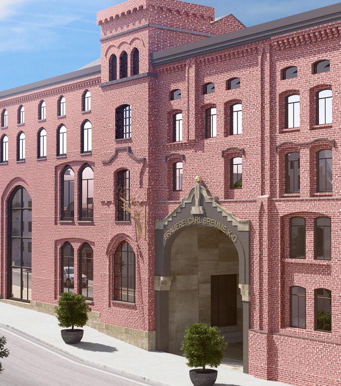 Umbau und Umnutzung eines Fabrikgebäudes in Loftwohnungen (im Rahmen der Tätigkeit für Harald Gerlich)