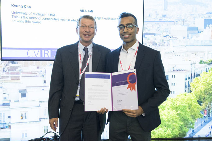 K. Hausegger (CVIR EiC) with N. Patel, who collected the award on behalf of Ali Alsafi