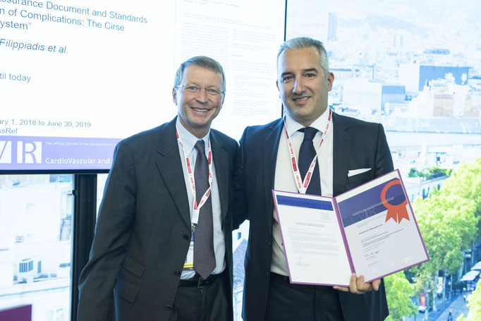 Most Cited Article: CIRSE Standards of Practice, from left to right: K. Hausegger (CVIR EiC) and D. Filippiadis (awardee)
