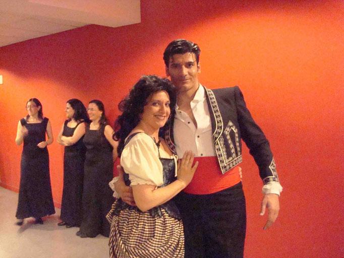 Con el barítono Andrés del Pino en CARMEN 2008