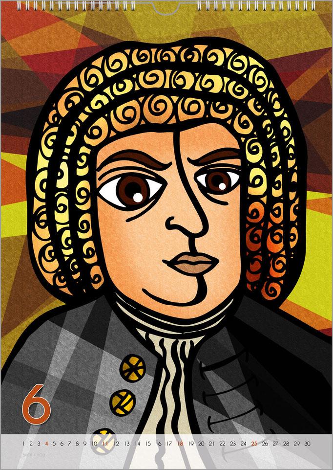 Musik-Geschenk Bach-Kalender 68 im Juni.