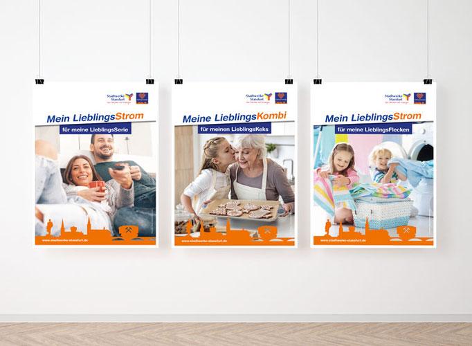 Plakatgestaltung im neu konzipierten Corporate Design für die Stadtwerke Staßfurt