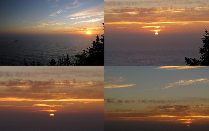Sonnenuntergang mit Miniatur-Leuchtturm in der Ferne