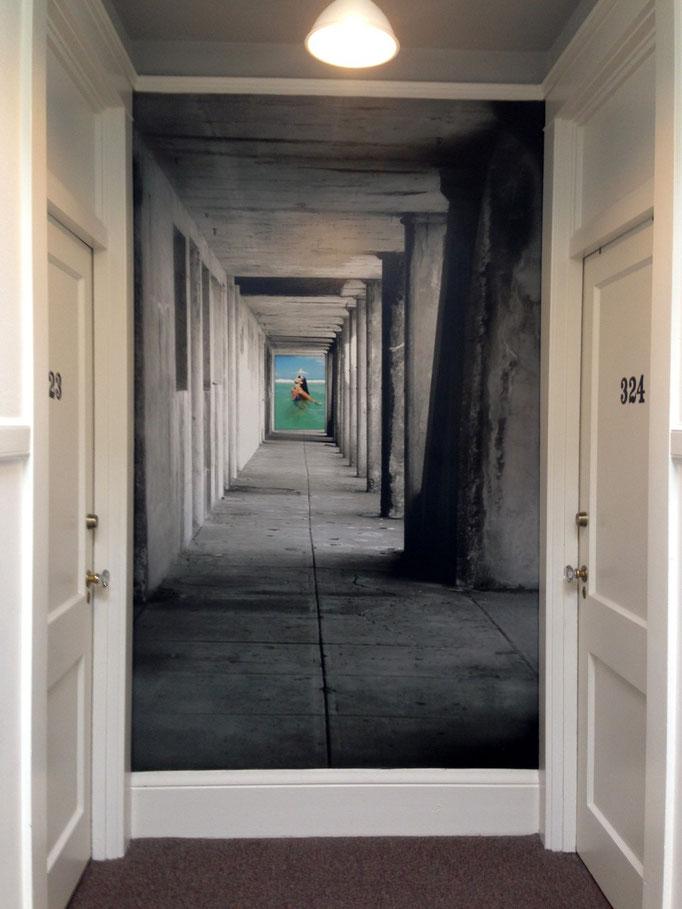 geniale optische Täuschung in einem Hostel