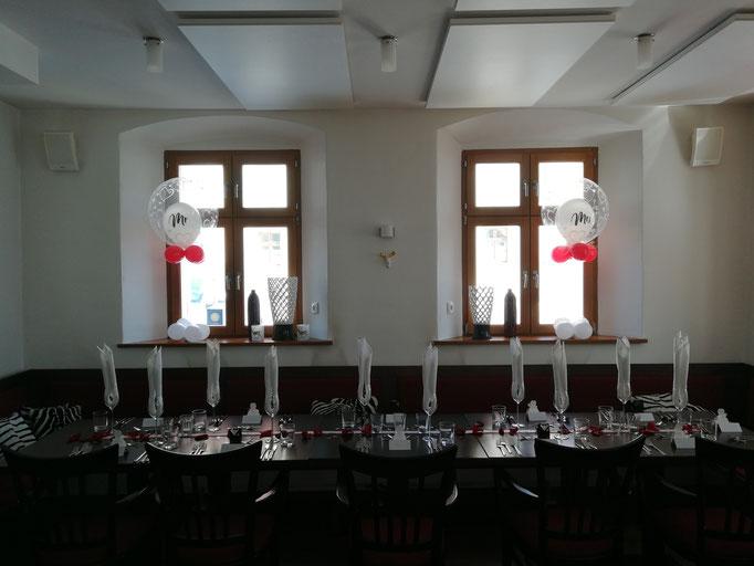 Bubbles am Hochzeitstisch