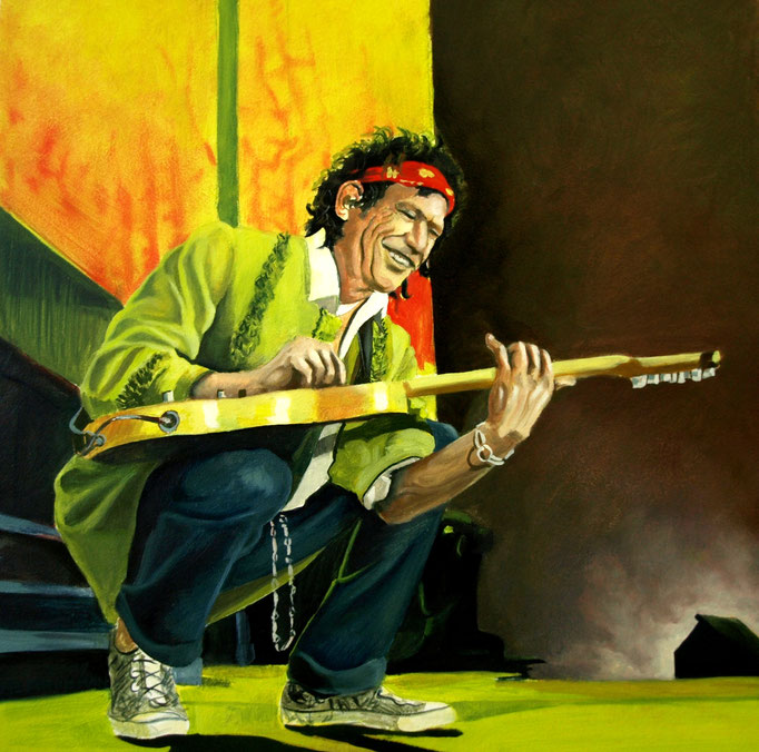 Keith Richards 30x30cm,  olieverf op paneel (opdracht particulier)