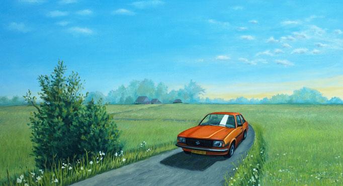 Opel Ascona 25x45cm, olieverf op paneel (opdracht particulier)