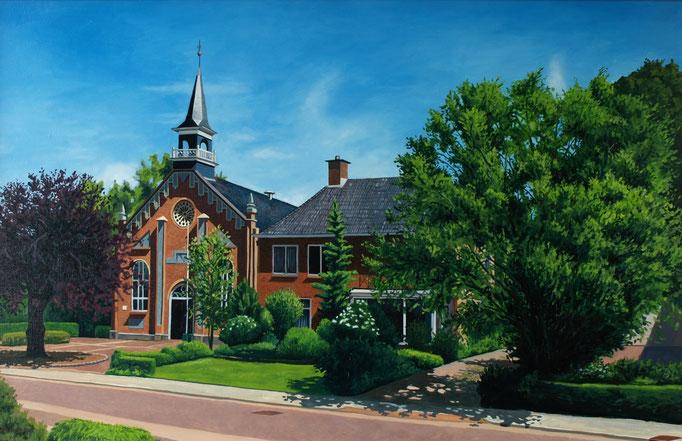 Gereformeerde kerk Ten Boer 60x80cm, olieverf op paneel (opdracht PKN gemeente)