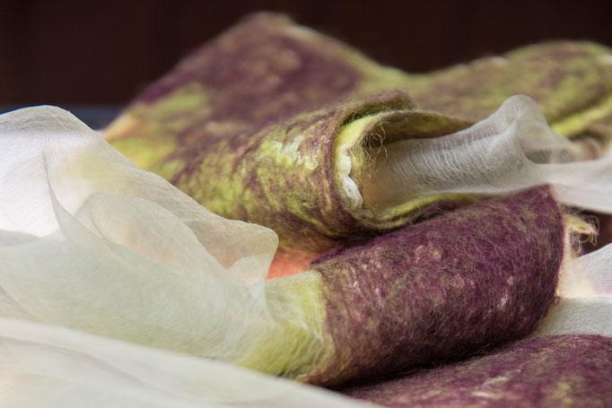 Seide/Leinengewebe transparent, Fasern Merino, gekämmt