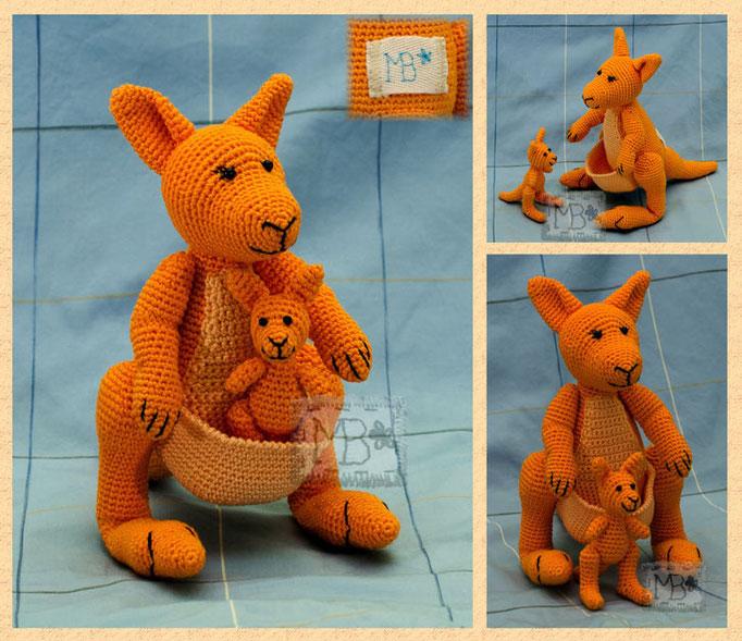 Апельсиновые Кенгуру - Мама и Малыш / Orange Kangaroos - Mom and Baby 16 & 9 cm Авторская работа / The work of authorship