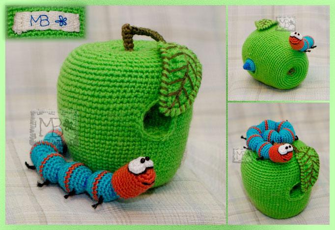 Жорик - любитель яблок / Zhorik - apple-fancier  apple 6*7cm, warm 16 cm   Авторская работа / The work of authorship