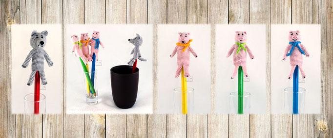 Три Поросенка и Серый Волк, пальчиковые куклы, Авторская работа / Three Piglets And the Grey Wolf, Finger Puppets, The work of authorship