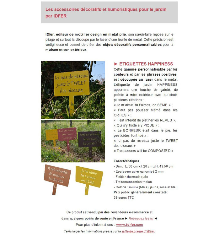Archid'Ext, spécial Made in France - Idfer, étiquette de jardin en métal