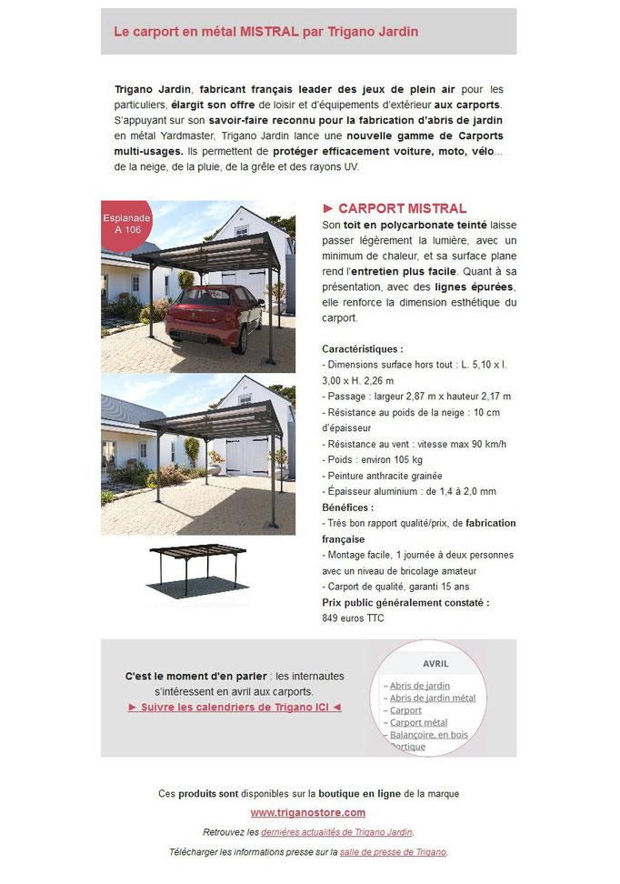 Archid'Ext, spécial  JDC 2019 - Trigano Jardin - Carport Mistral