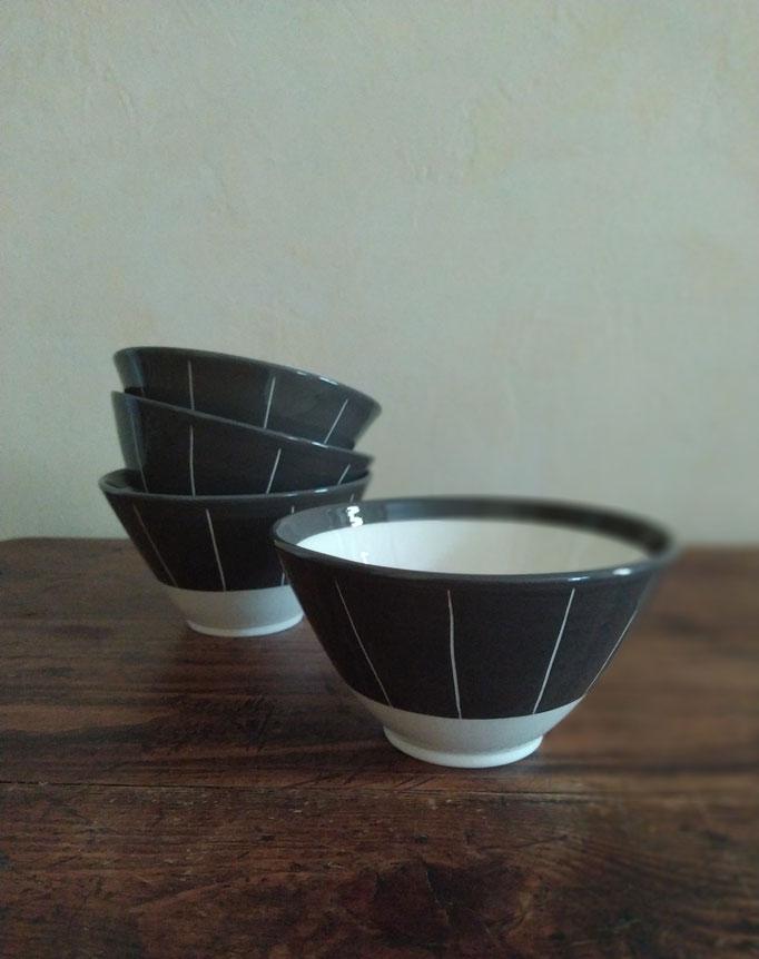 Tasses en noir et blanc