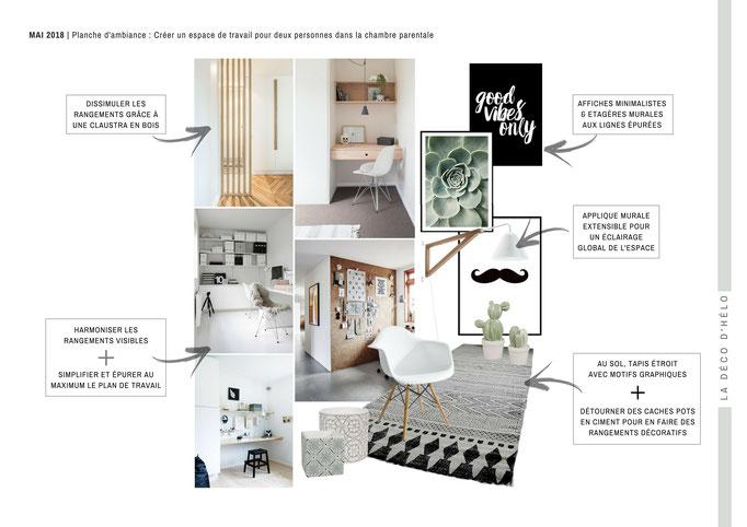 La Déco d'Hélo |  Ambiance minimaliste pour un coin bureau logé dans une grande chambre parentale à Meylan (Isère, 38).