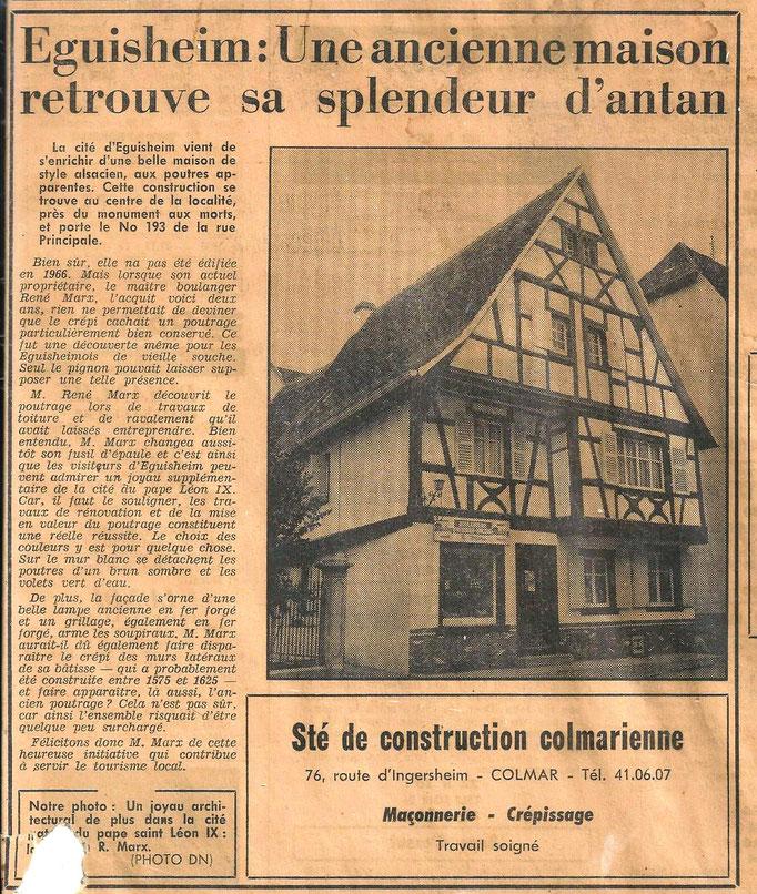 l'article daterait de 1966, 2 ans après l'arrivée des grands-parents de Muriel Marx