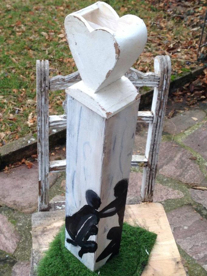Skulptur Holzstele Kunst Garten