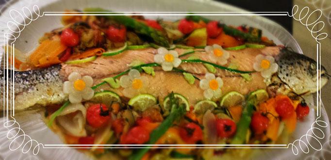 Saumon en bellevue et ses petits légumes