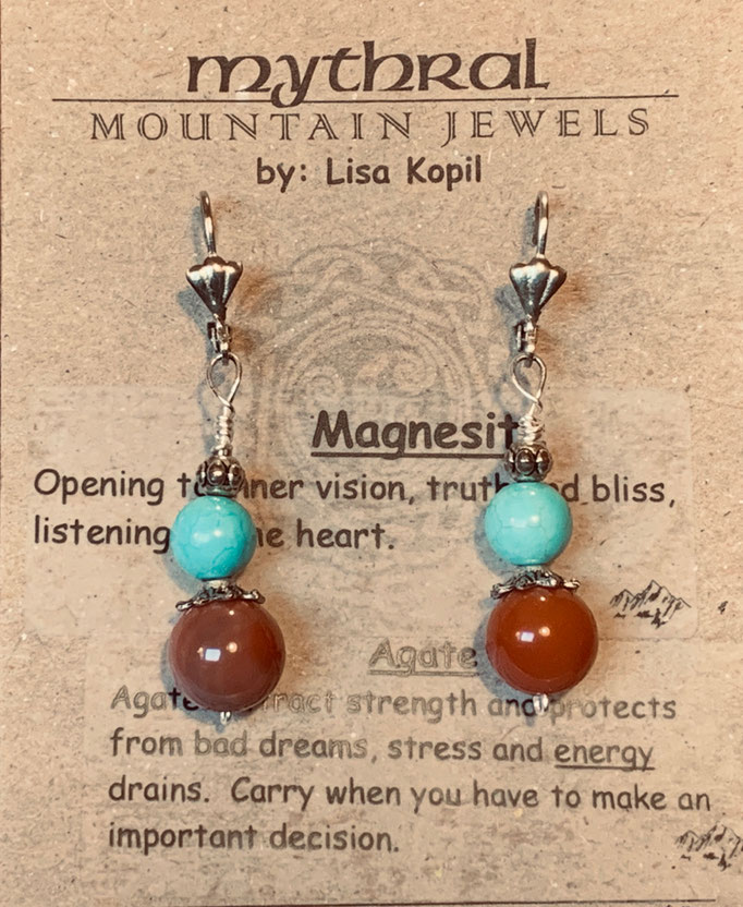 Earrings Gallery 2 Photo 18: Magnisite and Agate $25