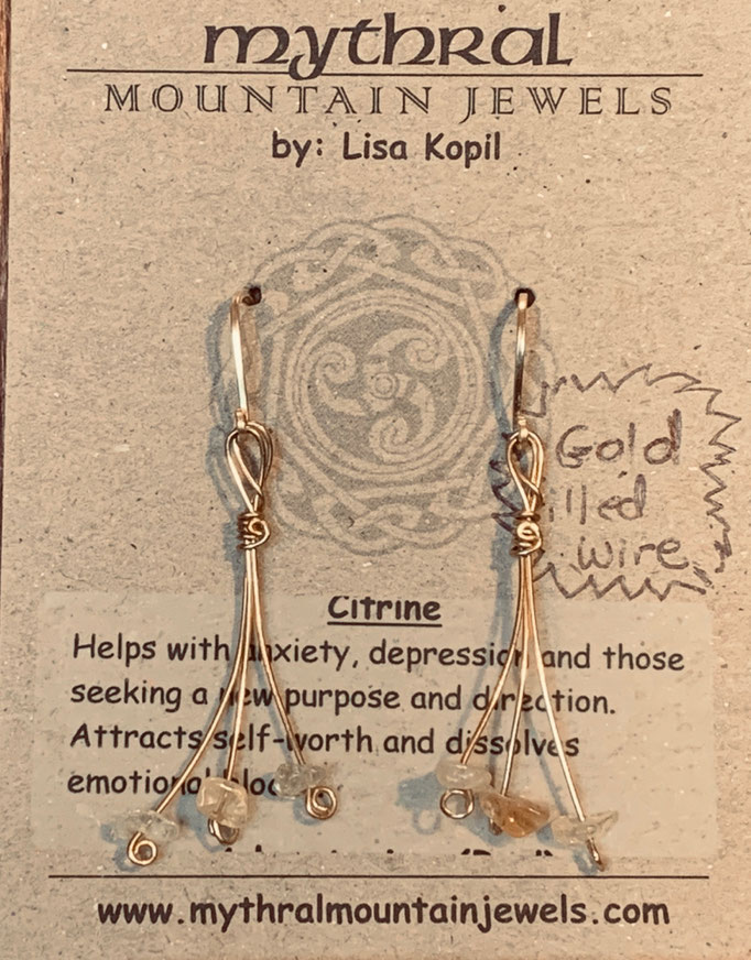 Earrings Gallery 1 Photo 6: Citrine (Gold Filled wire) $35