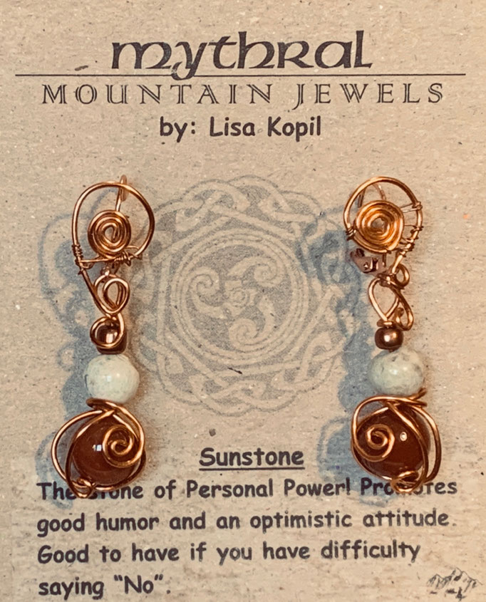 Earrings Gallery 2 Photo 12: Sunstone and Howlite $30