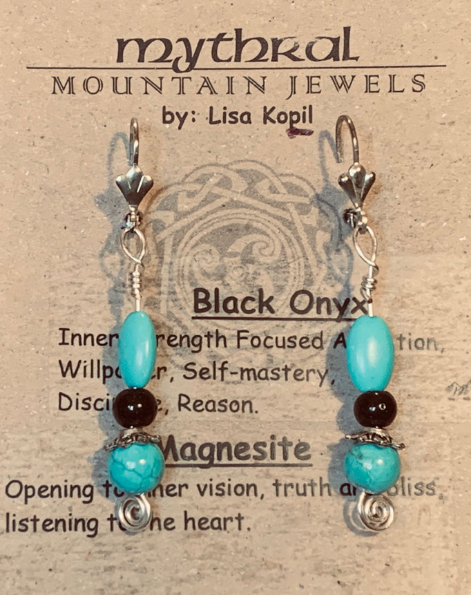 Earrings Gallery 2 Photo 11: Magnisite and Black Onyx $25