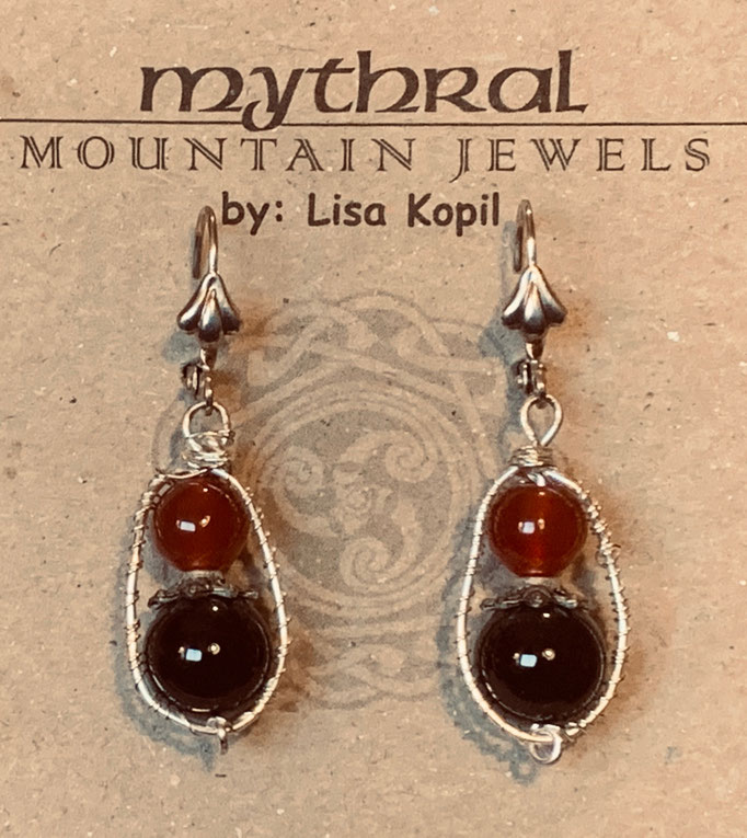 Earrings Gallery 2 Photo 14  Carnelian and Black Onyx $30