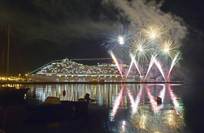 Costa Venezia Taufe Feuerwerk