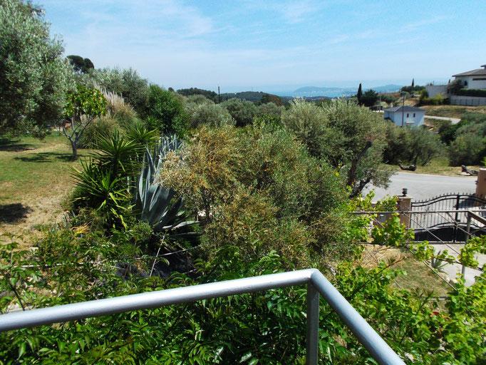 moment zen sur la terrasse du bas avec vue mer sur la rade de Toulon